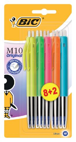 3086123258495 - Balpen Bic M10 colors limited edition blister 8+2 gratis
