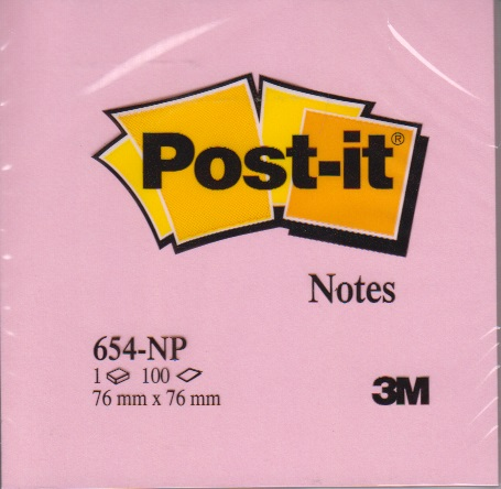 3134375221405 - Memoblok 3M Post-it 654-NRO 76x76mm neon roze